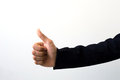 Business man side view of thumbs up sign background Royalty Free Stock Photography