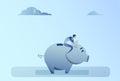 Business Man Sitting On Piggy Bank Money Savings Concept Royalty Free Stock Photo