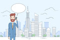 Business Man Smart Cell Phone Talk Businessman Chat Bubble Communication Over Big City View Royalty Free Stock Photo