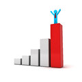 Business man standing with arms wide open up on top of growth business red bar graph over white background Stock Images