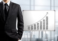 Business man standing and drawing growth chart on white board success concept Royalty Free Stock Photo