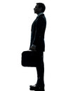 Business man standing proflie silhouette Royalty Free Stock Photo