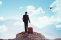 Business man standing on the top of the mountain Royalty Free Stock Photo