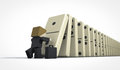 Business man starting domino effect perspective view of a Royalty Free Stock Photos