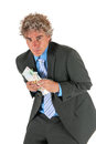 Business man with stolen money Royalty Free Stock Image