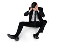 Business man suffer on floor isolated Stock Photography