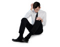 Business man suffer on floor isolated Royalty Free Stock Photo