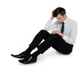 Business man suffer on floor isolated Royalty Free Stock Images