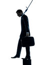 Business man suicidal hanging silhouette Stock Images