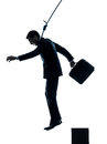 Business man suicidal hanging silhouette Royalty Free Stock Photo