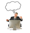 Business man suit computer thought bubble over his head isolated white background Royalty Free Stock Photo