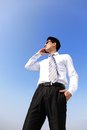 Business man talking on smart phone with sky Royalty Free Stock Image