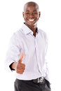 Business man with thumbs up happy isolated over a white background Stock Photography