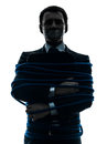 Business man tied up prisoner silhouette Royalty Free Stock Photo