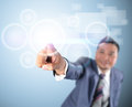Business man touching modern digital technology Stock Image