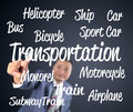 Business man touching transportation Royalty Free Stock Photo