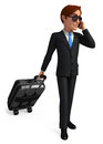 Business man with traveling bag d rendered illustration of Royalty Free Stock Image