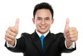 Business man two thumbs up sign Royalty Free Stock Photography