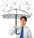 Business man with umbrella Stock Photography