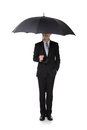 Business man with an umbrella concept for insurance and save money full length isolated against white background asian Stock Photography