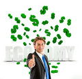 Business man under a money rain Royalty Free Stock Photography