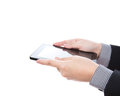 Business man using a touch screen device. Stock Photos