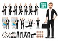 Business man vector character set. Male office person cartoon character creation Royalty Free Stock Photo
