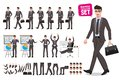Business man vector characters set. Cartoon character creation of male office person Royalty Free Stock Photo