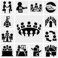 Business man vector icons set on gray isolated grey background eps file available Stock Photos