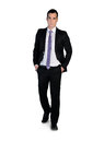 Business man walk forward isolated Royalty Free Stock Photo