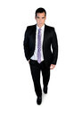 Business man walk looking camera isolated Royalty Free Stock Image