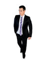 Business man walk looking side isolated Stock Photography