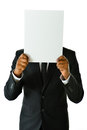 Business man with white card holding up a that can be filled in any concept Royalty Free Stock Photo