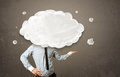 Business man with white cloud on his head concept Royalty Free Stock Photo