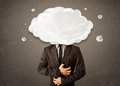 Business man with white cloud on his head concept grungy background Royalty Free Stock Photo