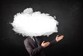 Business man with white cloud on his head concept grungy background Royalty Free Stock Photography