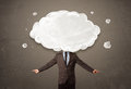 Business man with white cloud on his head concept grungy background Stock Photography