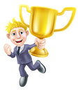 Business man winner and trophy a cartoon character holding a gold happily jumping in the air Stock Photos