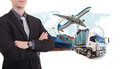Business man withsupply chain management logistics Import Export Royalty Free Stock Photo
