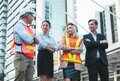 Business man and woman with civil engineer. Group of Multiethnic Diverse People with Different Jobs Concept
