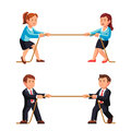 Business man and woman competition metaphor