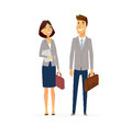 Business man and woman - modern flat design people characters composition. Royalty Free Stock Photo