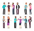 Business man, woman, and people have conversation, discussion, talking and listening. Cartoon vector characters set Royalty Free Stock Photo