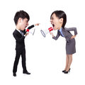 Business man and woman shouting to each other women through megaphone isolated on white background asian big head people Stock Photos