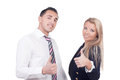 Business man and woman showing thumbs up young handsome men women Stock Photo
