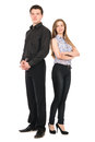 Business man and woman standing isolated on white background men women teamwork concept Royalty Free Stock Photos