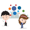 Business man and woman working on internet for social network concept isolated on white background illustration Stock Photography