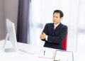 Business man working with desktop computer in office Royalty Free Stock Image