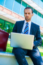 Business man working on his laptop Royalty Free Stock Images