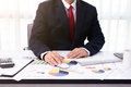 Business man working at office with desktop computer and documen Royalty Free Stock Photo
